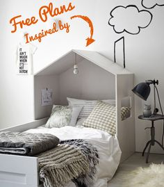 A unique and modern house headboard to dress up a twin bed.  Free plans and tutorial on Remodelaholic.com #headboard #bedroom