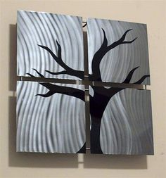 Metal Wall Art | Creative metal wall art & Contemporary metal wall art sculpture - gloss black and brushed ...