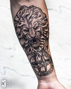Realistic Lion Statue Sleeve Tattoo - Jannes de Groot Tattoo Statue Tattoo, Sleeve Tattoos, Lion, Photo And Video, Instagram, Tattoo Sleeves, Leo, Lions, Arm Tattoo
