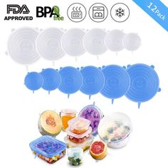 Reusable Durable Eco-Friendly Stre TF Silicone Stretch Lids 12pcs Silicone Lids