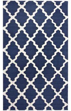 Homespun Moroccan Trellis Navy Blue Rug  Item #: 200HJHK03A-P