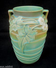 Vintage-1930s-Roseville-Pottery-LUFFA-Arts-Crafts-Vase-with-Handles-7