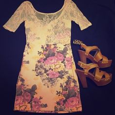 Intimately by Free People Floral Print Dress This dress has gorgeous lace detail. Stretchy.  Preloved but in perfect condition. Style suggestion shown, but listing is for dress only. Free People Dresses Mini