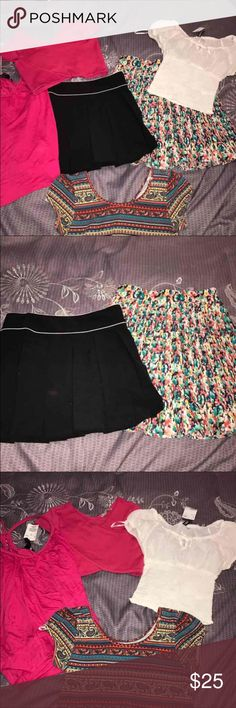 HUGE Name Brand Clothing Bundle Lot Brand: H&M, Ambience Apparel, Rollacoaster Size: Small Color: pink, white, red Retail: $80 Condition: two NWT, others like new   Includes two blouses, one crop top, and one red skater skirt  Check out my closet for more cute items!  I ALWAYS discount BUNDLES!  !!!! BUNDLE AND SAVE !!!!  Brands in my closet include: H&M, Forever 21, Victoria's secret pink, Nike, Urban Outfitters, Pacsun, LF, Brandy Melville, topshop, Free People, hollister, american eagle…