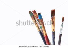stock photo : Paint brushes on white