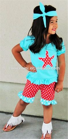 3c21b4e1b5d48 Red Aqua Starfish Toddler Girls Top & Shorts Boutique Set Outfit Polka Dot  Ruffles Back To School by SwankyDudzBoutique on Etsy