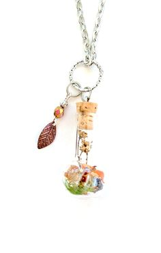 Terrarium Necklace Nature Jewelry Autumn Colors by teenytinyplanet