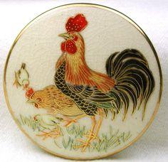 """Antique Satsuma Button Meiji Period Rooster Hen & Chicks Lg Sz 1 & 15/16"""" BkMk"""