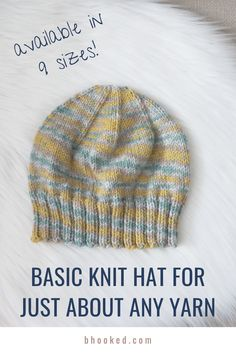 Knit Hat Pattern Easy, Beanie Knitting Patterns Free, Easy Knit Hat, Beanie Pattern Free, Knitted Hats Kids, Baby Hat Patterns, Baby Hats Knitting, Free Knitting, Free Pattern