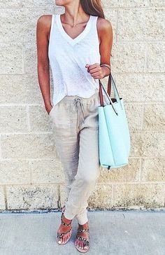 Dressed Down With Loose Sweats and Sandals