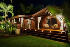East meets West fusion of tropical architecture from around the Pacific Rim to find or build your Hawaii dream home Hawaiian Homes, Hawaiian Decor, Outdoor Spaces, Outdoor Living, Indoor Outdoor, Rest House, Tiny House, Tropical Architecture, Architectural Services