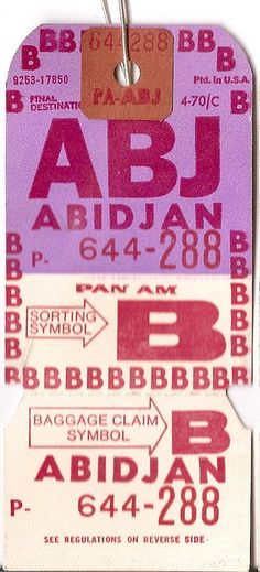 Pan Am - ABJ Abidjan, Ivory Coast Baggage Tag
