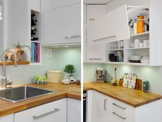 petite cuisine blanche et bois design idées