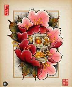 Skull Tattoo Flowers, Flower Tattoo Drawings, Peonies Tattoo, Tattoo Design Drawings, Flower Tattoos, Japanese Peony Tattoo, Japanese Dragon Tattoos, Japanese Tattoo Designs, Japanese Flowers