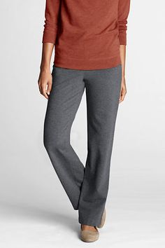 Women's Starfish Refined Stretch Pants from Lands' End (Small/Tall, Charcoal Heather)