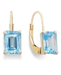 10k Gold Earrings, Emerald-Cut Blue Topaz Leverback Earrings (2 ct. t.w.)