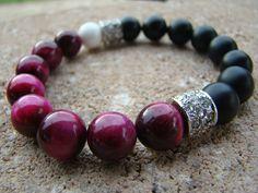 Beaded Bracelet, Elegant, Black, Agate, Gemstone Stretch Bracelet, Tigers Eye…