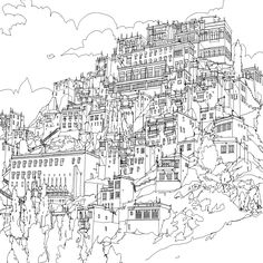 Canadian artist Steve McDonald's colouring book Fantastic Cities is full of painstakingly accurate perspectives of urban landscapes from Rio to Jodhpur Mandala Coloring Pages, Colouring Pages, Adult Coloring Pages, Coloring Books, Colouring Sheets, Steve Mcdonald, Black And White Art Drawing, Castle Drawing, Background Drawing