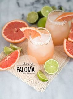 Honey Paloma Cocktail (grapefruit and tequila)- The Little Epicurean Campari Cocktail, Paloma Cocktail, Cocktail Drinks, Cocktail Recipes, Alcoholic Drinks, Beverages, Dinner Recipes, Margarita Recipes, Stay Fit