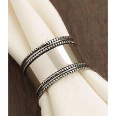 Set of 4 Elegant Antique Silver Band Napkin Rings 1.5