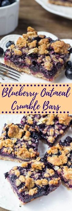 These blueberry oatmeal crumble bars are bursting with juicy blueberries, and filled with crunchy oatmeal crumble. Delicious for breakfast or dessert.