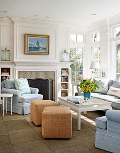 Bright and airy living room in the home of designer Louis Brooks.  Longtime friend, Lynn Morgan, helped co-design the lovely home.  | Traditional Home