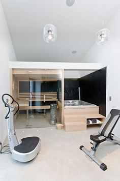 Osice House Interior by OOOOX Indoor hot tub, sauna and work out area…yes please! Osice House Interior by OOOOX Sauna Design, Home Gym Design, House Design, Floor Design, Design Design, Design Ideas, Indoor Sauna, Indoor Jacuzzi, Indoor Hot Tubs