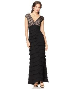 f10d86cdbed3a Jessica Howard Cap Sleeve Lace Tiered Gown | Dress, Frock and Clothing  Black Lace Gown