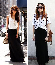 falda-asimetrica-negra-top-blanco
