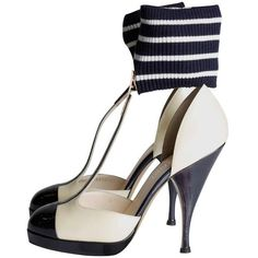 Preowned Chanel T Strap Ankle Cuff Pumps - Dark Navy Blue/champagne... ($497) ❤ liked on Polyvore featuring shoes, pumps, blue, strappy pumps, champagne pumps, blue pumps, t strap shoes and ankle cuff pumps