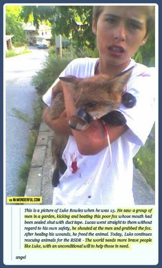 The kid who saved a fox!