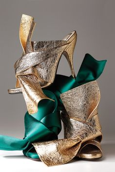 Alessandro Dell'Acqua No21 leather and satin twist-tie mules #Shoes #Heels #Couture