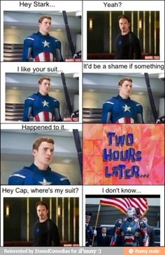 The Avengers that was my thoughts cap had stolen Tony's armor and made it the iron patriot
