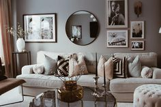 room wall decor over couch modern Mirror Decor Living Room, Dining Room Walls, Living Room Art, Living Room Modern, Living Room Designs, Modern Wall, Lounge Decor, Mirror Over Couch, Mirror Ideas