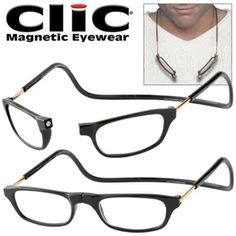 973d3b7cb0 CliC Magnetic Long Stemmed Front Connect Reading Glasses  Black   33.92  Womens Golf Shoes