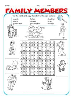 Teach English To Kids, English Activities For Kids, English Lessons For Kids, Learn English, Teaching English Grammar, English Worksheets For Kids, English Vocabulary, Animals Name In English, Family Worksheet