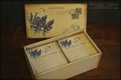 Carte postale wish cards with box - Lavender - Vintage wedding stationery - Beyond Verve