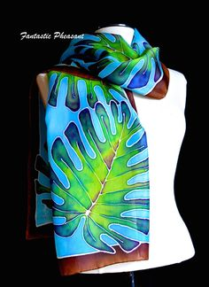 Silk scarf hand painted vibrant tropical leaves on a brilliant turquoise background, brown border inches Made to Order silk scarf Fabric Painting, Fabric Art, Fabric Design, Shibori, Hand Painted Fabric, Painted Silk, Estilo Tropical, Batik Art, Turquoise Background