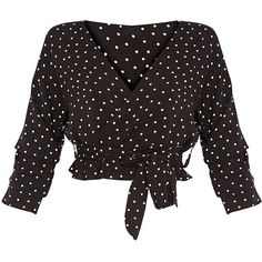 Gretta Black Woven Polka Dot Wrap Tie Blouse ($29) ❤ liked on Polyvore featuring tops, blouses, shirts, crop top, cropped tie shirt, cropped shirts, polka dot blouse, shirt blouse and wrap shirts blouses