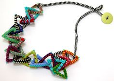 Nita E Kaufman - Triangle necklace with ladderstitch band and button closure. Lots of fun!!! by terra
