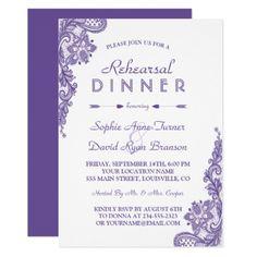 Modern Ultra Violet Lace Rehearsal Dinner Invite - invitations custom unique diy personalize occasions