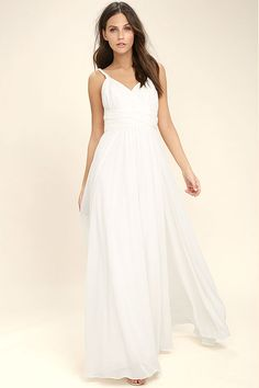 Lulus Exclusive! You'll have free reign of the party in the Carte Blanche White Maxi Dress! A pleated surplice bodice made from lightweight chiffon is supported by a braided, halter neckline and back sash that loops around and ties at the waist. Fitted waist flows into a full maxi skirt. Hidden back zipper/clasp.