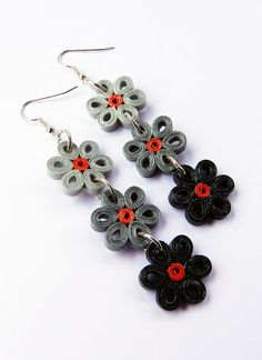 Paper flowers earrings quilling technique by VasariahCreations