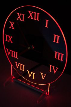 Clock with red backlight LED. Clocks are designed and manufactured by our company. Modern design.