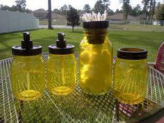 BATHROOM SET - Cotton - Q-Tip - Soap Dispensers - Toothbrush - Mason Jars - Yellow and black on Etsy, $28.00