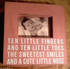 "Primitives By Kathy Pink Baby Box Photo Frame 10"" x 10""/4"" x 6"" Ten Fingers... #PrimitivesByKathy"
