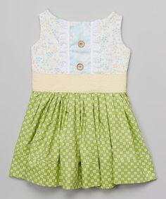 KALMcollection White & Green Floral Avrey Dress - Infant, Toddler & Girls by KALMcollection #zulily #zulilyfinds