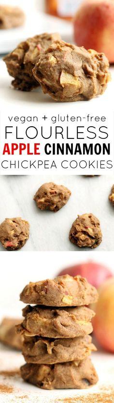 Flourless Apple Cinnamon Cookies are a super moist, lightly sweetened, vegan, kid-friendly treat! No oil, flour, butter, or refined sugar.