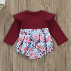 Infant Baby Girl Long Sleeve Ruffles Floral Romper Newborn Cotton Bodysuit Winter Clothes 06 Months Purplish Red >>> Continue to the product at the image link.-It is an affiliate link to Amazon. #BabyClothing