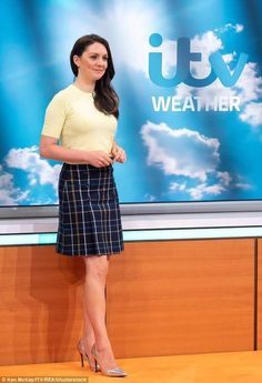 GIves me a warm glow Weather Girl Lucy, Hottest Weather Girls, Carol Kirkwood, Good Morning Britain, New Readers, Romper With Skirt, Tv Presenters, Plaid Skirts, Celebs